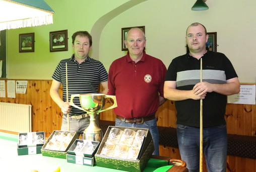 Finalists in the Declan Ryan snooker final in New Ross Workmen's Club (from left): Declan Ryan (runner-up), Tony Bennett (referee), and Dave Shannon who won the final 3-0. The beaten semi-finalists were Nathan Murphy and John Bennett.