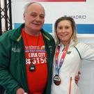 Jackie Carthy of Kilmore in Madrid with coach Pavel Kolesnikov