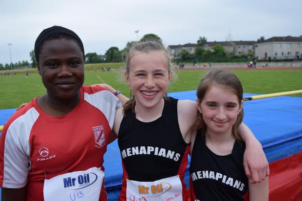 The girls' Under-13 high jump medal winners (from left): Sophie Kotun (D.M.P., second), Ruby Reynolds (Menapians, first), Nyah Nolan (Menapians, third)