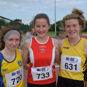 The top three in the girls' Under-17 javelin (from left): Hannah Kelly (Taghmon, third), Blanaid Fogarty (Enniscorthy, first) andRachel Power (Adamstown, second)