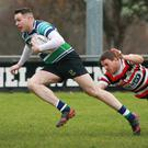 David Shannon on the move for Gorey after a missed tackle by Enniscorthy's Richard Dunne