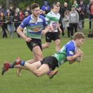 Seán Wafer scoring a try for Gorey during Saturday's victory at home to Naas