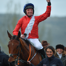 Jamie Codd reacts to the cheering crowds after his emotional victory on board Envoi Allen on Wednesday