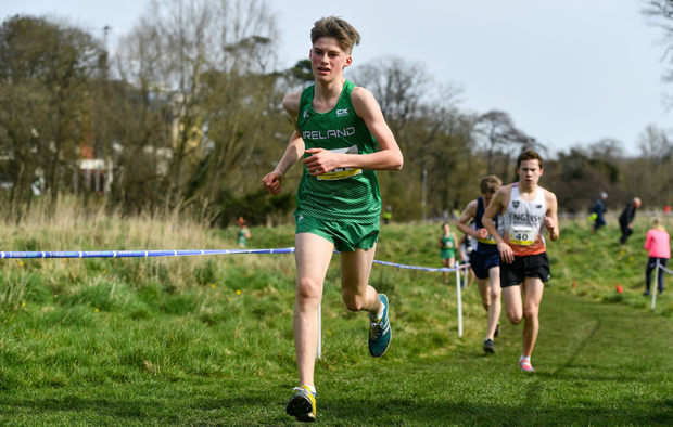Myles Hewlett of United Striders, seen here representing Ireland in last week's schools cross-country international, will be hotly fancied for a medal