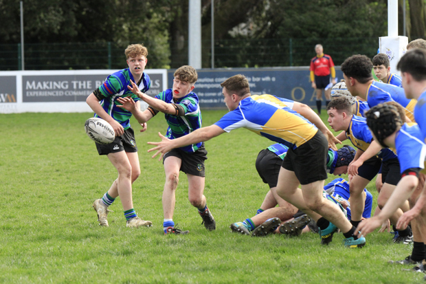 Scrum-half Jack Higgins firing a pass to his back division
