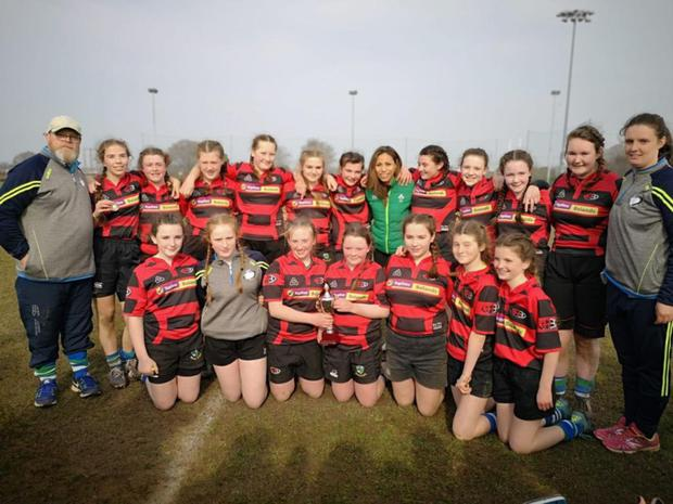 The Argo girls with their coaches after their Under-14 success