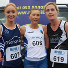 Clodagh Kelly (Croghan, second), Jackie Carthy (Kilmore, first), and Nicola Murphy (United Striders, third)