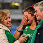 An emotional Deirdre Duke with her parents, Gretta (nee Carroll) and Brendan, after the Ireland women's hockey team qualified for the Olympics for the first time at Energia Park, Donnybrook, on Sunday