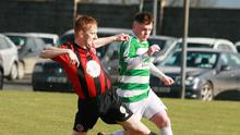 Paul Brennan of Gorey Rangers tackling Castlebar Celtic's Jason Hunt in the last round of the FAI Junior Cup in early March. The quarter-final, away to Usher Celtic from Dublin, is fixed for Sunday, July 26