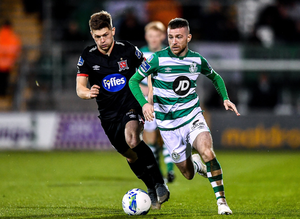 Shamrock Rovers midfielder Jack Byrne, right, says a return to action behind closed doors could be the only option this year