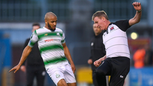 Ethan Boyle with current Ireland manager Stephen Kenny during a Shamrock Rovers versus Dundalk league tie in 2018