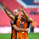 David Meyler and Jake Livermore of Hull City celebrate the play-off final victory