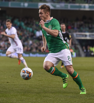 Kevin Doyle on his last international appearance for Ireland against Iceland in the Aviva Stadium last March