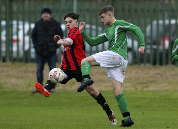 Eddie Murphy of Gorey Rangers and Conor Collier of Wicklow Rovers compete for the ball during the LFA Youth Cup first round game in Whitegates, Wicklow. Picture: Garry O'Neill