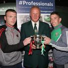 Stephen Kinsella, Gorey Rangers; Wexford League Chairman Denis Hennessy, and Ricky Fox of Shamrock Rovers at the launch of the Wexford Volkswagen Cup final in D Bar, Treacy's Hotel, on Friday night