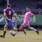 Adham Masood, seen here in the last home game against Drogheda United's Kevin Farragher, was on set-piece duty in Ballybofey