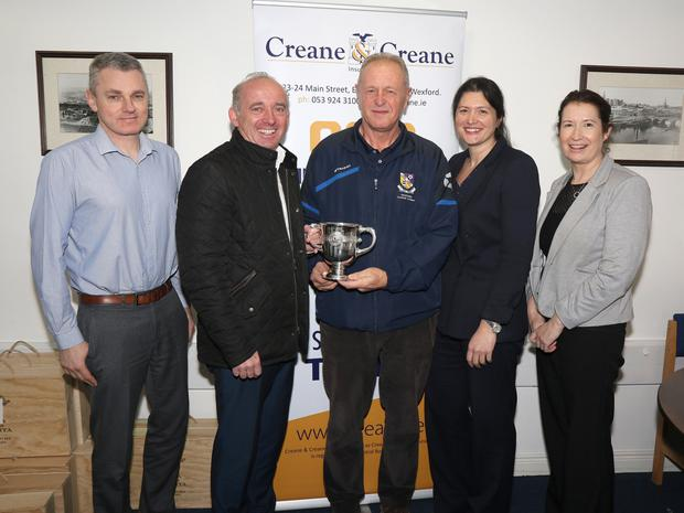 Creane & Creane Insurance are the new sponsors of the Wexford Cup, from left: Alan McNally, Tony Doyle (Managing Director, Creane & Creane), Denis Hennessy (Chairman of the Wexford Football League), Christine Bracken and Sinead Gaffney