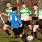 Michael Kinsella of Courtown Hibs has a strike on goal during the Creane and Creane Wexford Cup second round game against Gorey Celtic