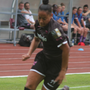 Rianna Jarrett posing problems down the right flank in the 2-1 victory over Gintra on Saturday