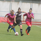 Goalscorer Edel Kennedy on the ball in midfield during Wednesday's 3-1 defeat to Vllaznia from Albaniain Alytus