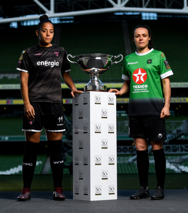 Sunday might mark the last game in a Wexford jersey for the in-demand Rianna Jarrett, pictured here at the photocall in the Aviva Stadium with Aine O'Gorman of Peamount United