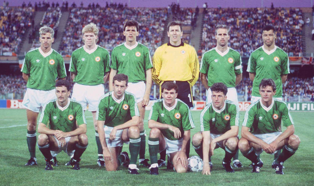 The starting eleven before the World Cup opener against England in Cagliari on June 11, 1990. Back (from left): Chris Morris, Steve Staunton, Tony Cascarino, Packie Bonner, Mick McCarthy (capt.), Paul McGrath. Front (from left): John Aldridge, Kevin Sheedy, Ray Houghton, Andy Townsend, Kevin Moran