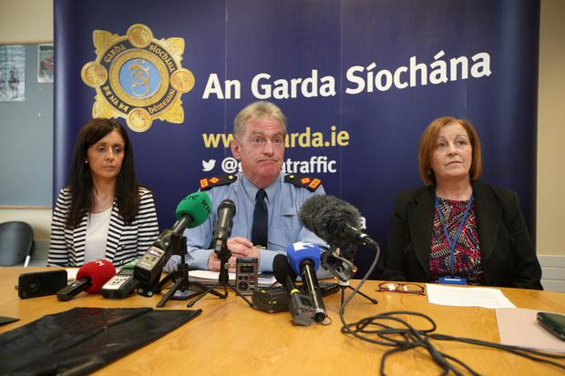 Sergeant Maeve O'Sullivan, Superintendent Brendan Connolly and Rita Byrne, Principal Social Worker with the Child and Family Agency Tusla at a press conference about the discovery of a baby in Steelstown, West Dublin