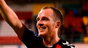 Bohs captain Derek Pender celebrates after Friday night's victory over Shamrock Rovers Pic: Sportsfile