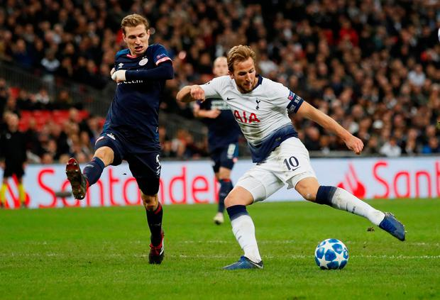 LEVELLER: Spurs' Harry Kane equalises against PSV in Wembley last night. Photo: Reuters