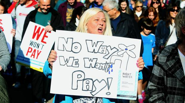 Protesters are campaigning against water charges