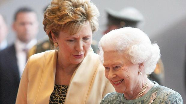 The UK's queen with former president Mary McAleese on a state visit to Ireland