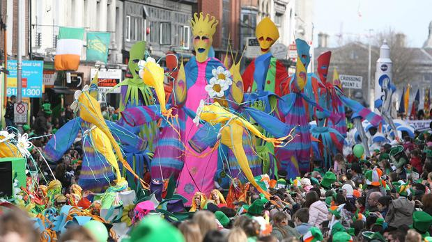 A general view of the crowd during the annual St Patrick's Day Parade in Dublin