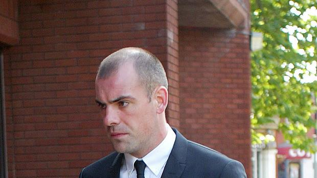 Footballer Darron Gibson arrives at Trafford Magistrates' Court in Sale, Cheshire, where he pleaded guilty to crashing his sports car into three cyclists while drink-driving