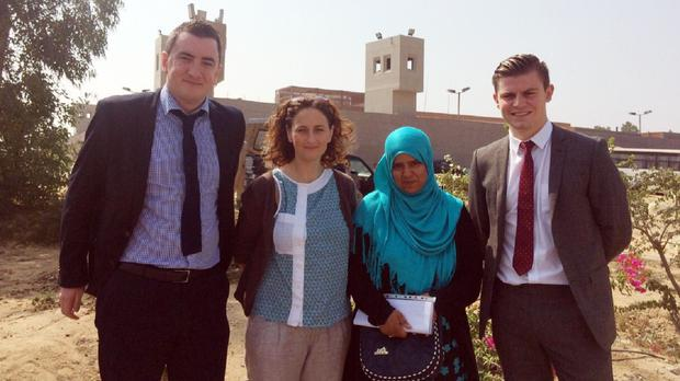Lawyer Gavin Booth (left), Sinn Fein MEP Lynn Boylan (second left), Ibrahim Halawa's sister Khadija and lawyer Darragh Mackin (right) (KRW Law Belfast/PA)
