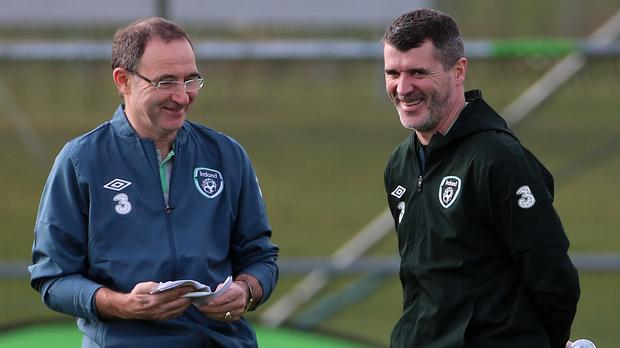 Republic of Ireland manager Martin O'Neill, left, is confident assistant Roy Keane, right, will benefit from his duel roles with his country and Aston Villa