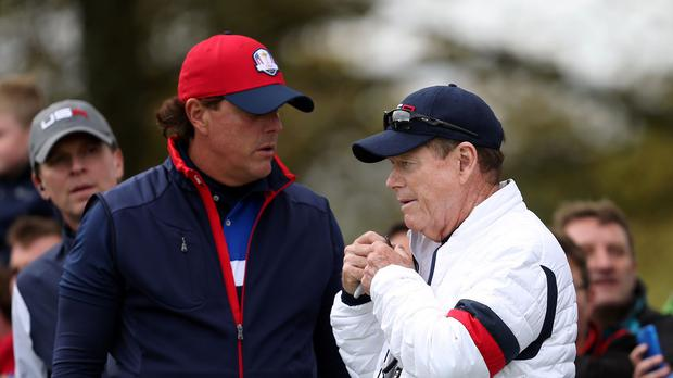 Phil Mickelson, left, openly criticised Tom Watson's Ryder Cup captaincy