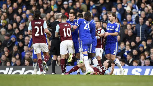 Chelsea's Nemanja Matic, centre, was incensed by Ashley Barnes' challenge