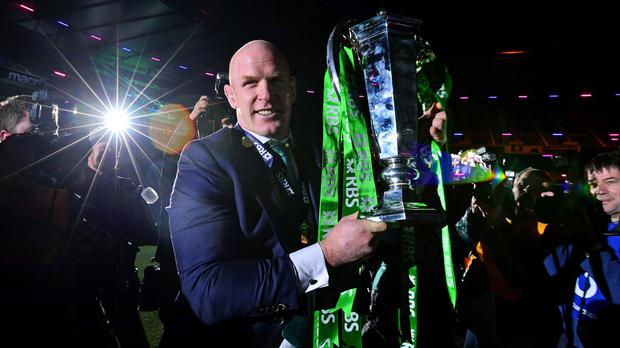 Paul O'Connell celebrates after this year's Six Nations win