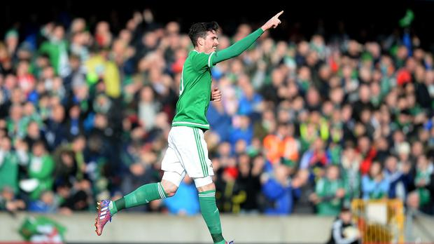 Kyle Lafferty became the second-highest goalscorer in Northern Ireland's history