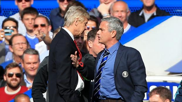 Chelsea manager Jose Mourinho, right, and Arsenal manager Arsene Wenger, left, clashed on the touchline at Stamford Bridge earlier this season