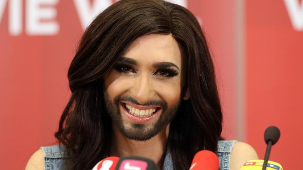 Singer Conchita Wurst has returned to Austria following her Eurovision Song Contest victory (AP)