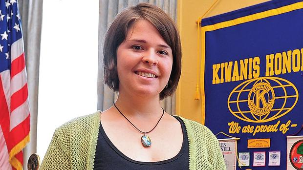 Kayla Mueller pictured in 2013 after speaking to a group in Prescott, Arizona (The Daily Courier/AP)
