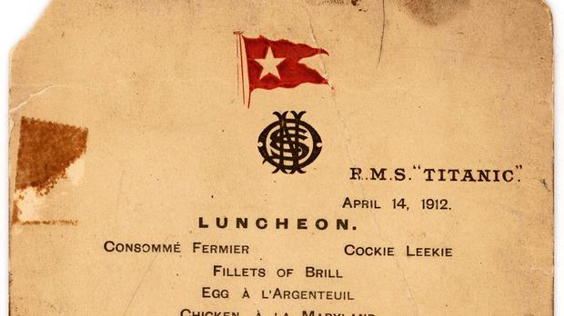The Titanic's last lunch menu, which has been sold at auction in New York (Lion Heart Autographs/AP)