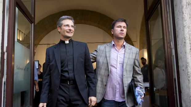 Monsignor Krzysztof Charamsa and his boyfriend Eduard (AP)
