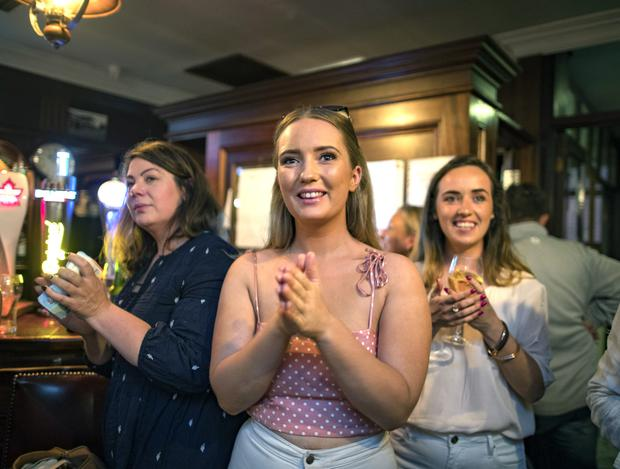Family and friends watching Maura Higgins in the final of this years Love Island at the Rustic Inn, Abbeyshrule, Longford