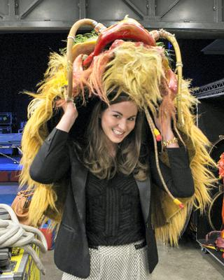 CIRCUS LIFE: Laura Butler tries on a prop from The Cirque Du Soleil show titled Dralion during rehearsals in the 02