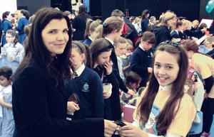 CHARITY: Ali Hewson with fifth-class students at Notre Dame Junior School in Dundrum (and below) who are taking part in the Children Helping Children Project