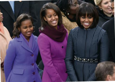 US First lady Michelle Obama and daughters, Sasha Obama and Malia Obama