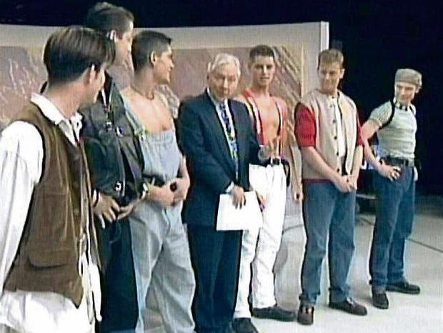 Boyzone on the Late Late Show with Gay Byrne Shane Lynch, Stephen Gatley , Ronan Keating , Keith Duffy