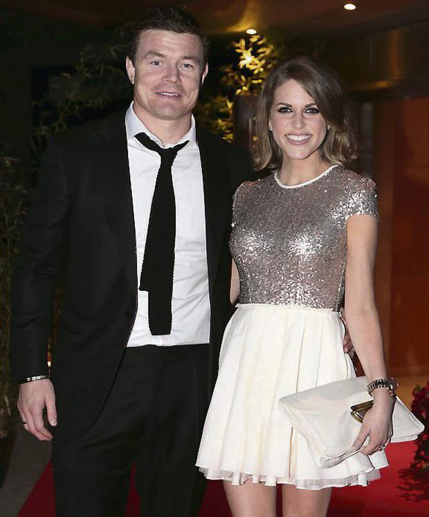 Brian O'Driscoll and Amy Huberman at the 21st birthday celebrations for Jett Desmond at the Pavillion in Leopardstown racecourse. Photo: Arthur Carron/Collins
